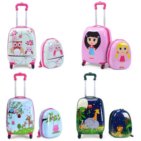 Costway 2Pc 12'' 16'' Kids Girls Luggage Set Suitcase Backpack School Travel Trolley ABS