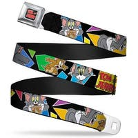 Tom And Jerry Logo Full Color Black Red Tom & Jerry Poses Black Multi Color Seatbelt Belt