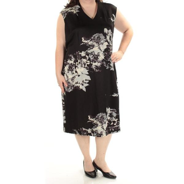 1fc1d729c0c Shop SLNY Womens Black Cap Sleeve V Neck Midi Shift Dress Plus Size  22W -  Free Shipping On Orders Over  45 - Overstock - 21367073