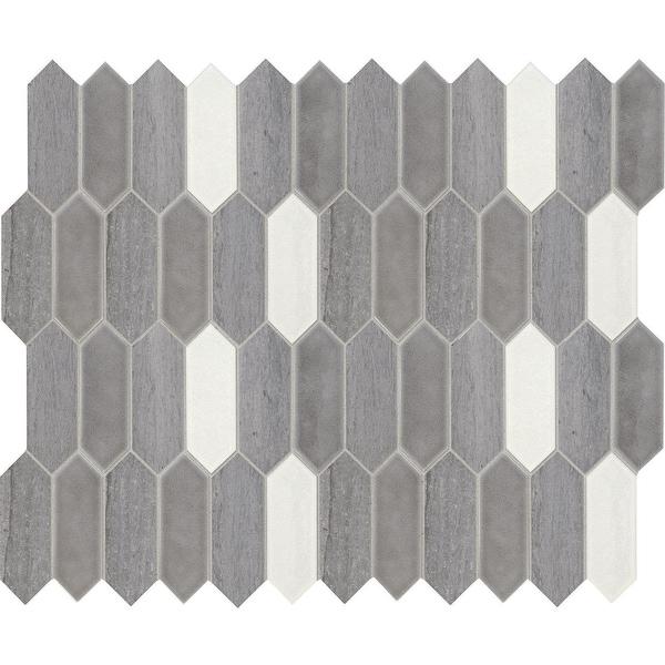 "Daltile DA26PICKTMS1P Fonte - 6"" x 2"" Linear Hexagon Mosaic Wall Tile - Honed Limestone, Marble Visual - Sold by Sheet"
