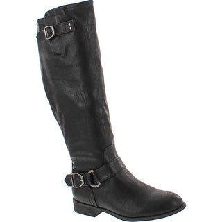Wild Diva Oksana-77 Women's Faux Leather Buckle Back Zipper Riding Knee High Boot - Black