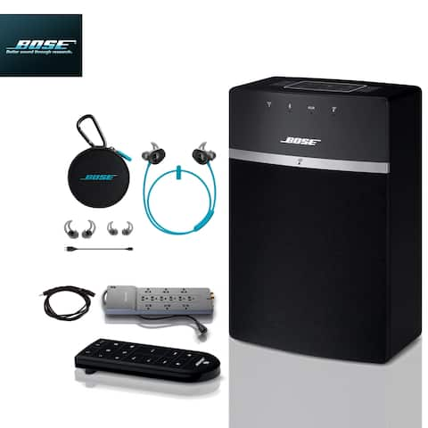 Bose SoundTouch 10 (Black) + Aqua SoundSports + 2 pc Acc Bundle