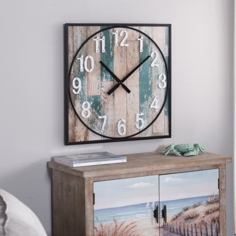 StyleCraft Weathered Matte Square Framed Take Time Wall Clock with Metal Detail