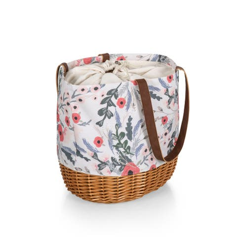 PICNIC TIME Coronado Canvas and Willow Basket Tote, (Floral Pattern) - 14.17 x 11.42 x 13.4