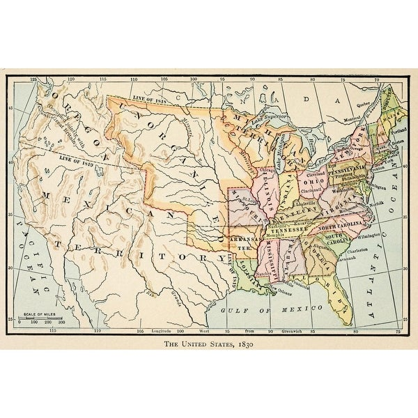 1830 Us Map.Shop Map Of The United States In 1830 History Free Shipping On