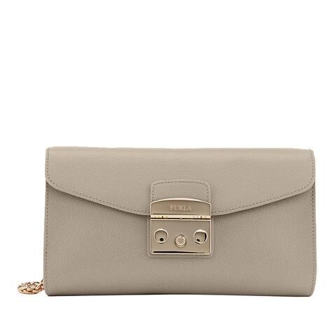 Furla Metropolis Small Leather Handbag Clutch Pochette Sabbia