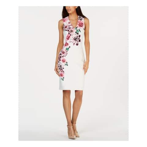 CALVIN KLEIN Ivory Sleeveless Above The Knee Sheath Dress Size 14