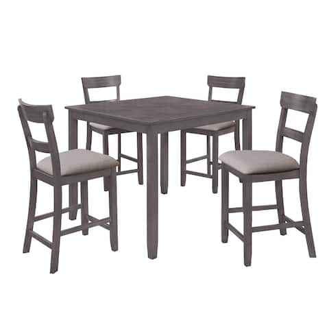 5 Piece Dining Set with 1 Table and 4 Fabric Padded Chairs, Gray