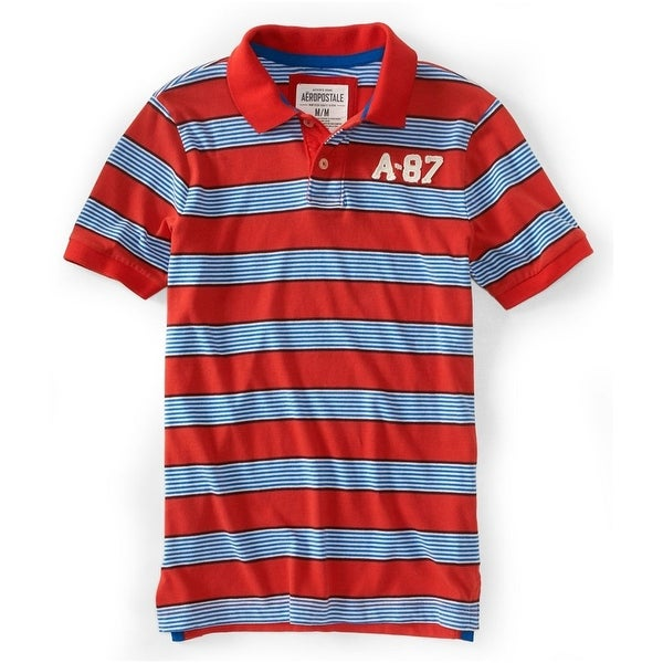 DKNY Mens Large Polo Rugby Embroidered Patch Shirt