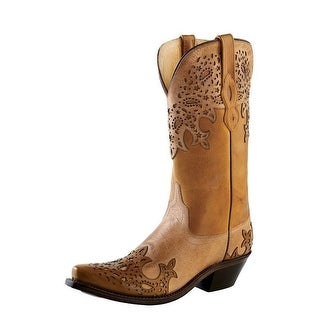 Old West Cowboy Boots Womens Wingtip Overlay Snip Toe Tan Fry
