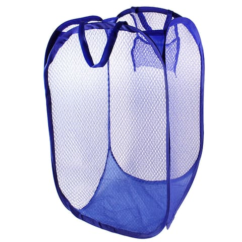 Foldable Lingerie Delicate Bra Mesh Wash Bag Home Household Net Washing Laundry Basket Dark Blue