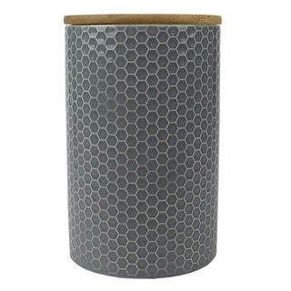 Link to Honeycomb Large Ceramic Canister, Grey Similar Items in Kitchen Storage