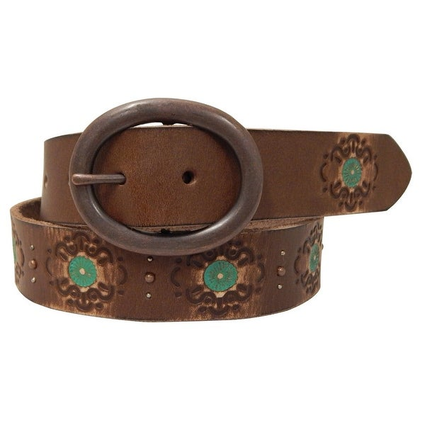 Roper Western Belt Womens Distressed Painted Floral Brown