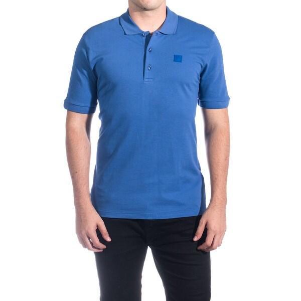 Versace Collection Men's Cotton Medusa Logo Polo Shirt Royal Blue