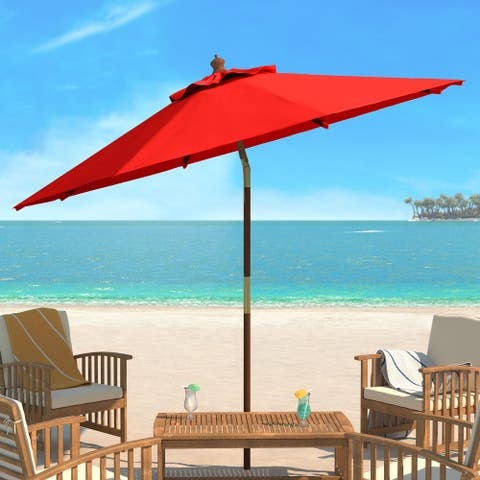Safavieh Cannes 9 Ft Red Wooden Outdoor Umbrella