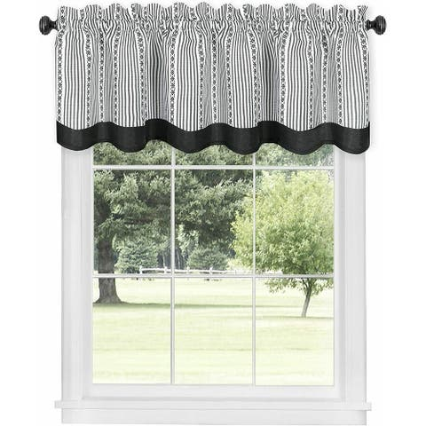 Country Farmhouse Striped Window Valance Curtain Treatments - 58 in. W x 14 in.