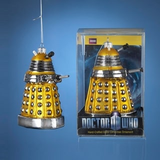 """Pack of 6 Doctor Who Hand Crafted Glass Yellow Dalek Christmas Ornaments 5"""""""