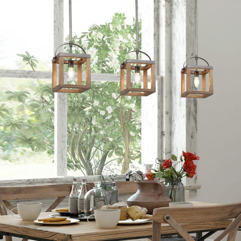 "Farmhouse 1-light Island Pendant Lighting Wood Fixture Ceiling Lights - L6.5""x W6""x H 12"""