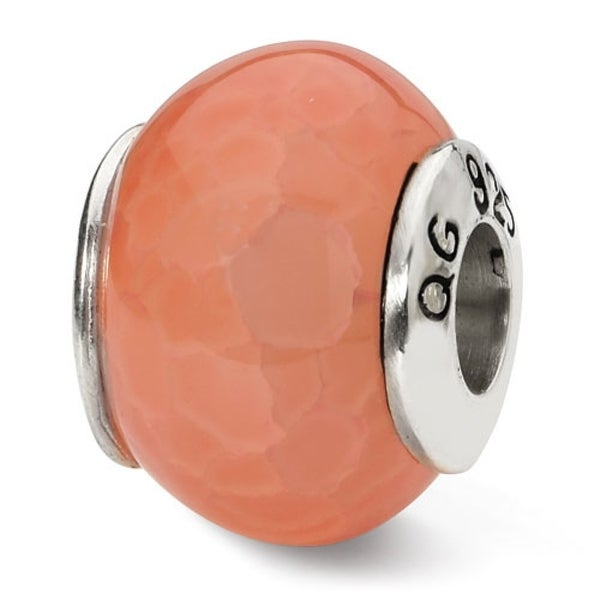 Sterling Silver Reflections Orange Cracked Agate Stone Bead (4mm Diameter Hole)