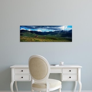 Easy Art Prints Panoramic Images's 'Mountain scene, Herd of caribou on tundra, Denali National Park, Alaska' Canvas Art