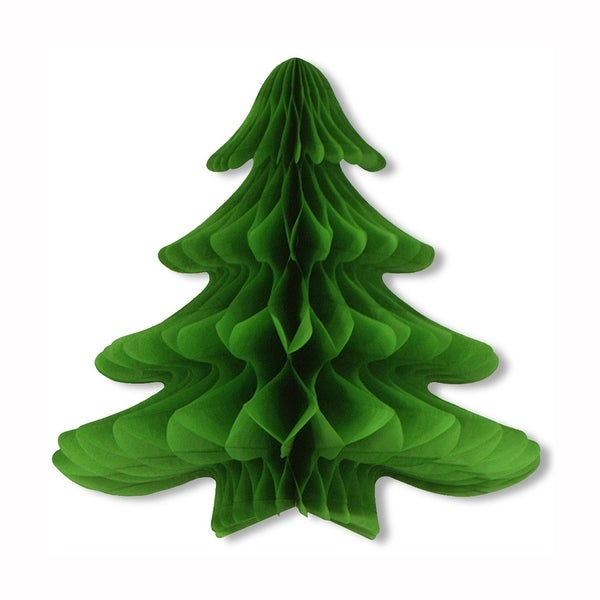 """Pack of 6 Green Honeycomb Tissue Hanging Christmas Tree Party Decorations 25"""""""