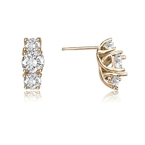 2.00 cttw. 14K Rose Gold Three-Stone Trellis Round Diamond Earrings