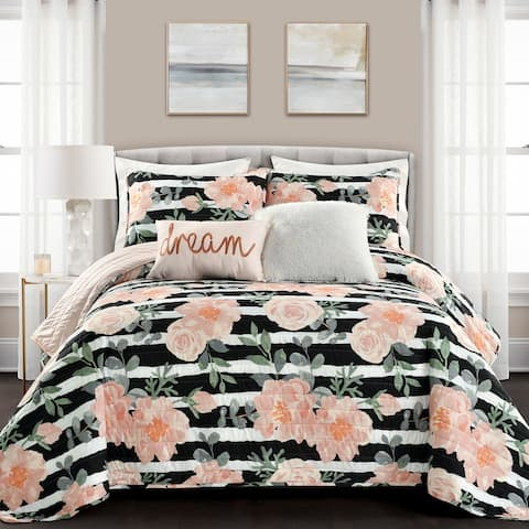 Lush Decor Amara Watercolor Rose 5 Piece Quilt Set