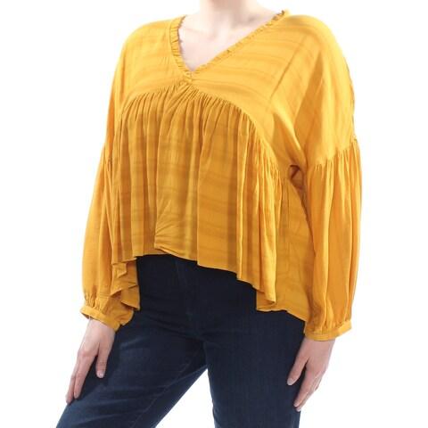 LUCKY BRAND Womens Yellow Ruffled Raglan V Neck Peasant Top Size: XL