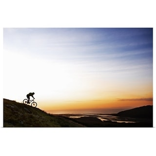 """Mountain biker riding down hillside"" Poster Print"
