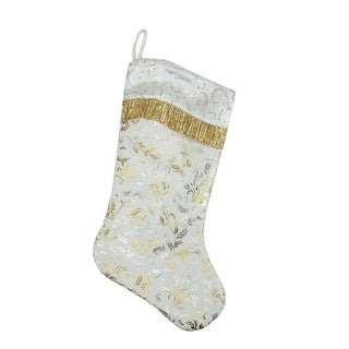 "20.5"" Metallic Silver and Gold Ombre Flourish Christmas Stocking with Wavy White Sequin Cuff"