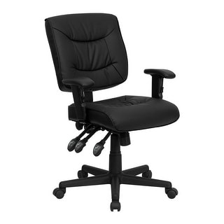 Offex Mid-Back Black Leather Multi-Functional Task Chair with Height Adjustable Arms [OF-GO-1574-BK-A-GG]
