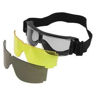 Interchangeable PC Lens PVC Frame Goggles Black for Wargame