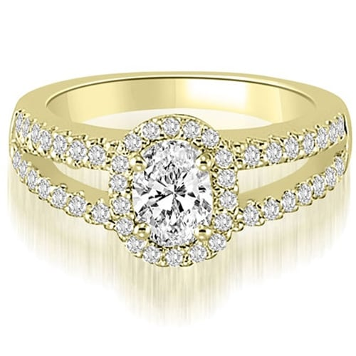 0.95 cttw. 14K Yellow Gold Halo Split-Shank Oval & Round Diamond Engagement Ring
