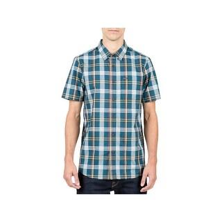Volcom Mens Surplus Button-Down Shirt Plaid Wrinkle Resistant