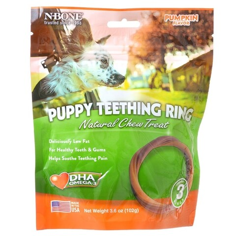 "N-Bone Puppy Teething Ring - Pumpkin 3 Pack - (3.5"" Rings)"