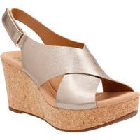 Clarks Women's Annadel Eirwyn Slingback Wedge Sandal Gold Metallic Leather