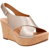 a5dcad350c4 Clarks Women s Annadel Eirwyn Slingback Wedge Sandal Gold Metallic Leather