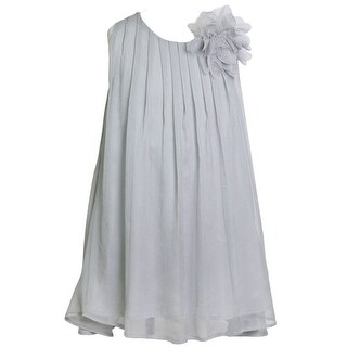 Girls Silver Pretty Chiffon Junior Bridesmaid Dress 8-12