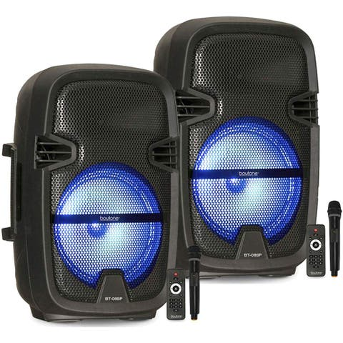 """Pair of BT-08SP2 Boytone 8"""" Portable Bluetooth PA Speaker, Rechargeable, Karaoke, Wireless Microphone, TWS(Wireless) to Connect"""