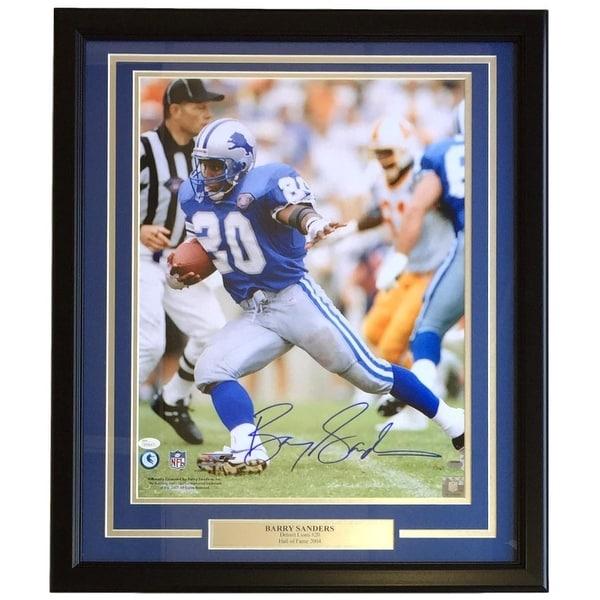 info for 634b0 602fa Shop Barry Sanders Signed Framed 16x20 Detroit Lions Blue ...