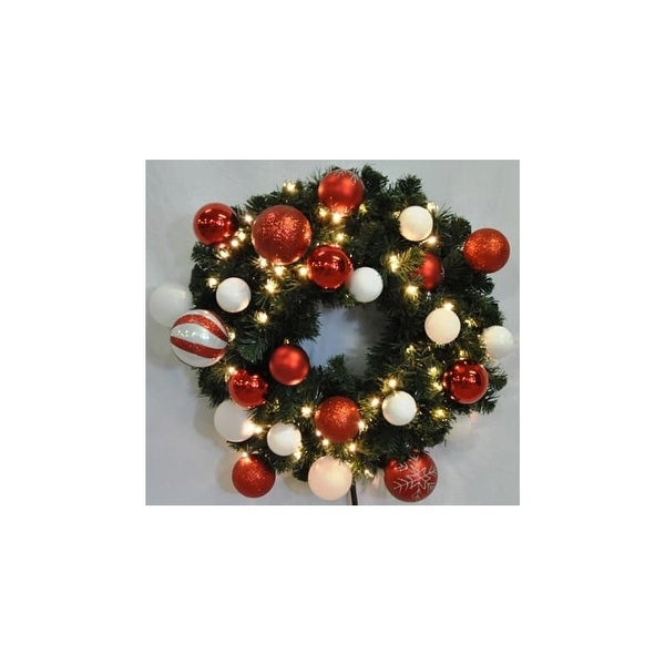 Christmas at Winterland WL-GWSQ-03-CDY-LWW 3 Foot Pre-Lit Warm White Sequoia Wreath Decorated with Candy Ornaments Indoor /
