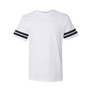Adult Football Fine Jersey Tee - White Solid/ Black - S