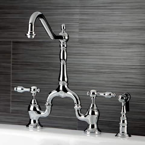 Tudor Bridge Kitchen Faucet with Brass Sprayer
