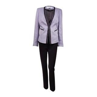 Tahari Women's Tweed Soutache-Trim Pant Suit (6, Purple/Black/White) - 6