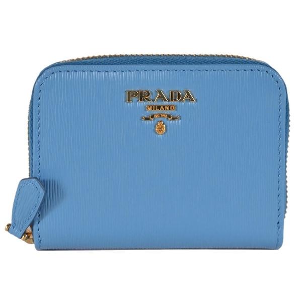 9acee117fd69 Prada 1MM268 2EZZ Mare Blue Saffiano Leather Zip Around Coin Purse Wallet -  4.13