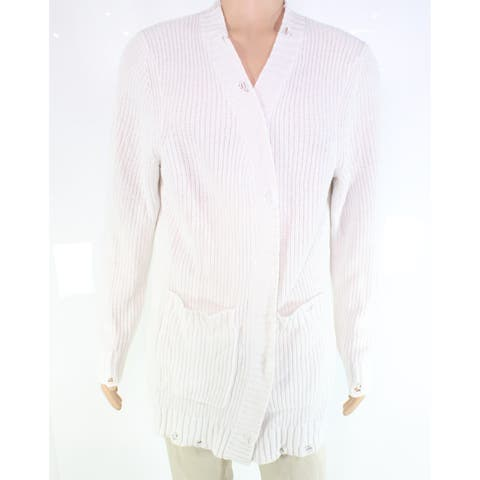 INC Mens Sweater Solid White Size 2XL Open-Front Ribbed Cardigan