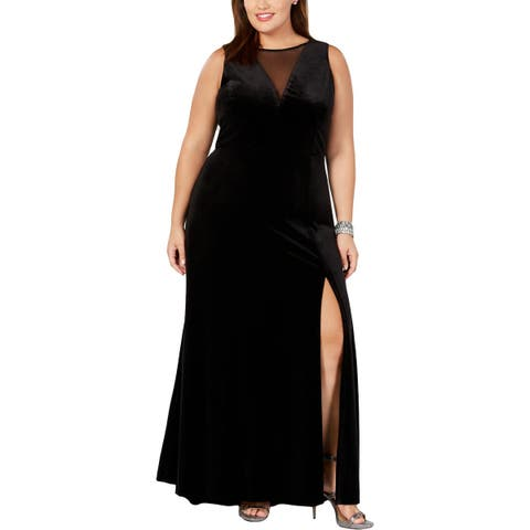Nightway Womens Plus Evening Dress Velvet Illusion