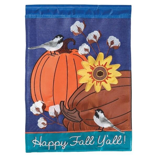"Blue and Orange ""Happy Fall Y'all"" Printed Large Garden Flag 42"" x 29"" - N/A"