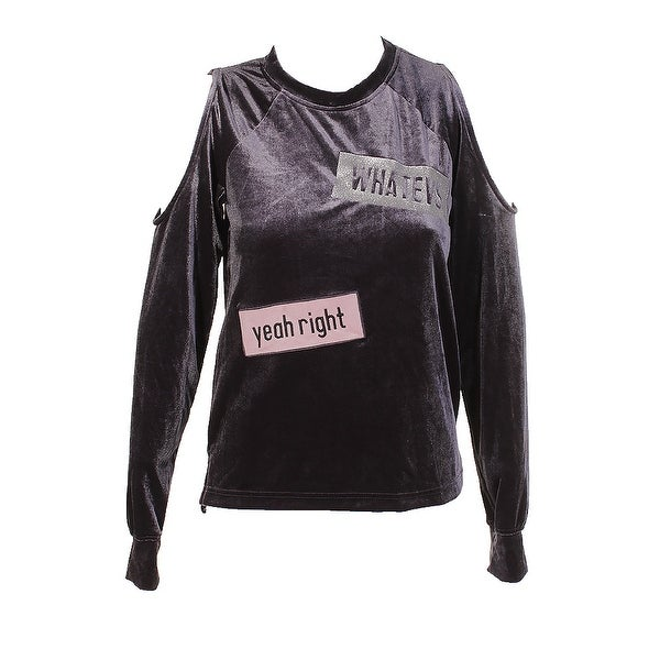 e5365296511e1 Material Girl Juniors Heather Charcoal Velour Patched Cold-Shoulder Top M