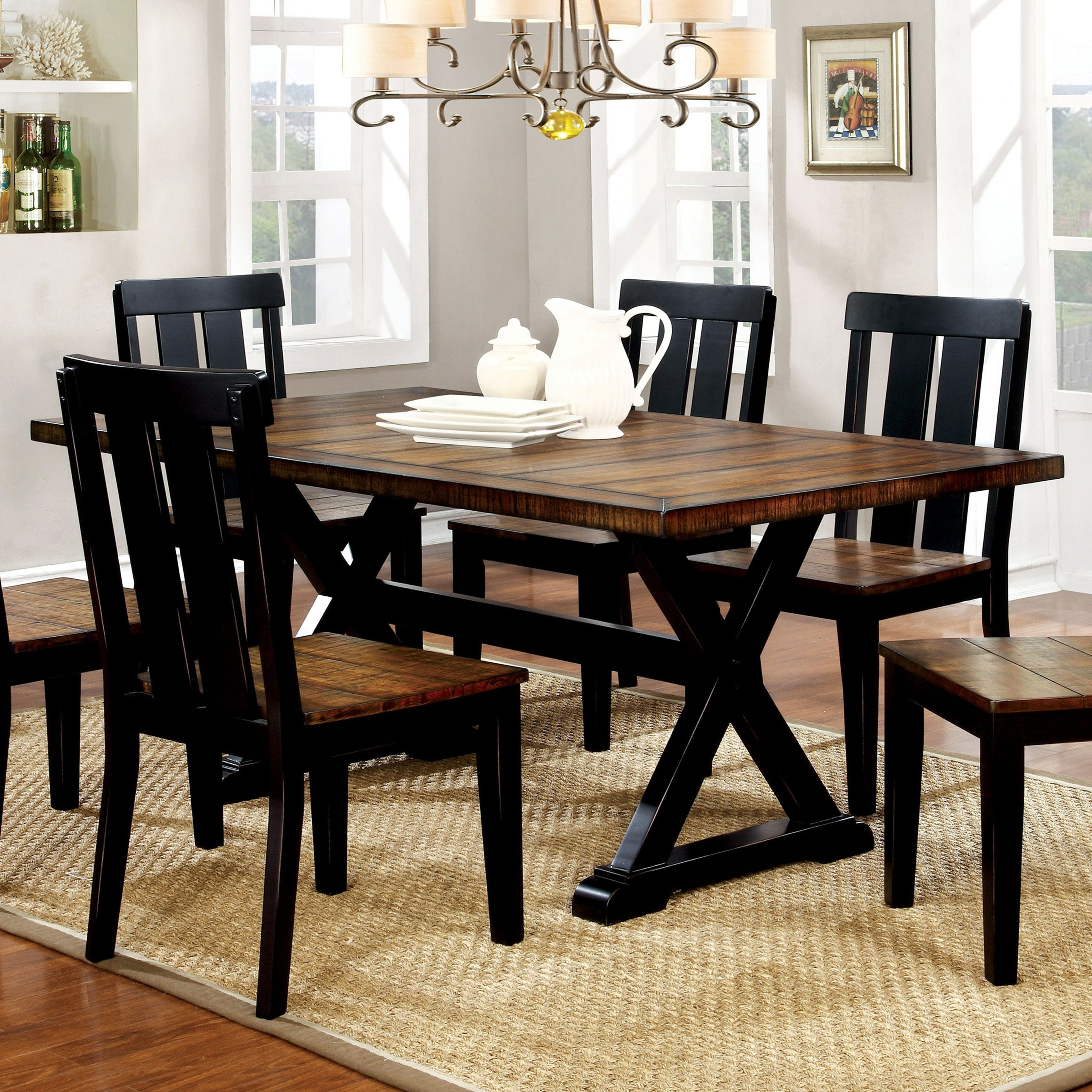 Furniture Of America Lara Farmhouse Black Solid Wood Dining Table Overstock 17520808